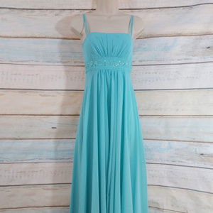 Pool Blue Chiffon Beaded Bridesmaid Prom Dress